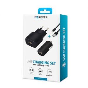 Forever Reseladdare och Billaddare Lightning med USB kabel - Svart