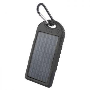 Forever Solar Powerbank 5000 mAh PB-016 - Hög kapacitets portabelt batteri med solceller - Svart