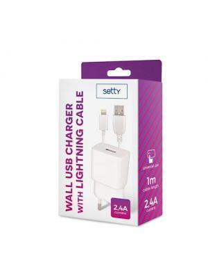 Setty Reseladdare med Lightning USB kabel - Vit